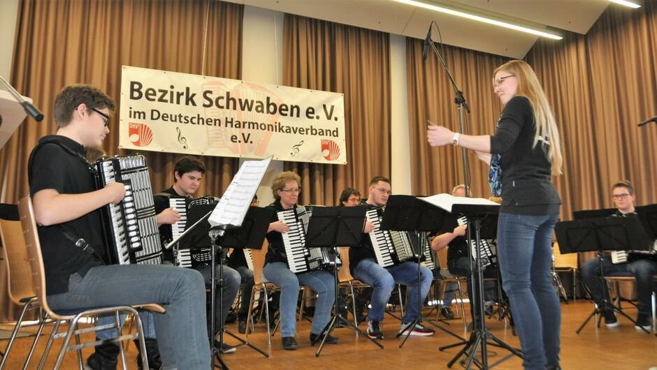 Das Akkordeon-Orchester aus Allmendingen hat in Nellingen beim Bezirkstreffen Lieder der Toten Hosen und von Coldplay gespielt.