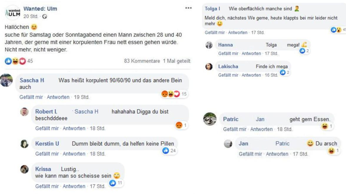 Wanted Ulm Auf Facebook Korpulente Frau Sucht Begleiter