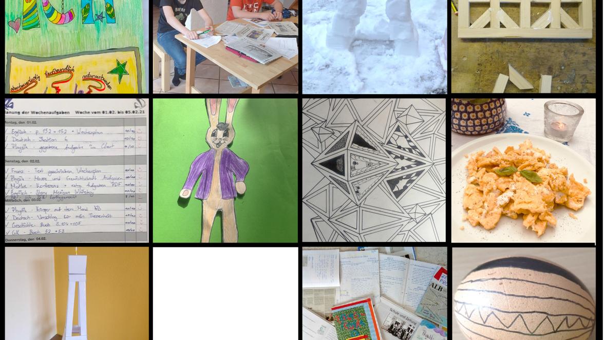 """Eine """"Corona-Collage"""" zeigt, wie vielfältig die Lernmöglichkeiten an der Münsinger SchillerGemeinschaftsschule sind Foto:"""